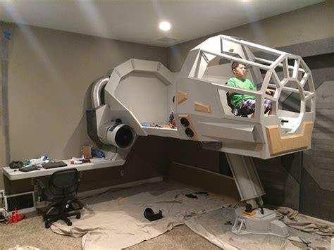 millenium falcon bed dad builds millennium falcon bed for son technabob