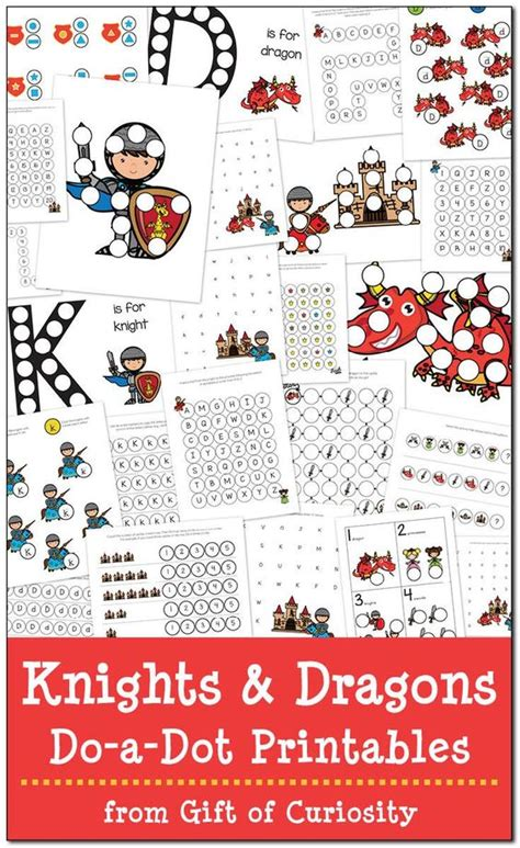 Medieval Times Gift Card - knights and dragons do a dot printables free medieval times and knight