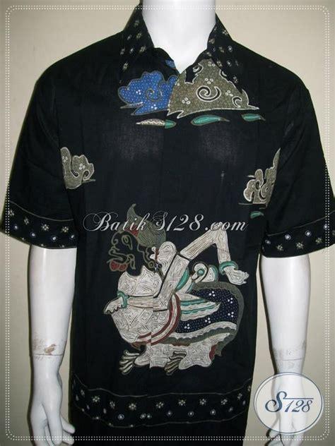 Hem Batik Kantor Jumbo Hitam Kemeja Batik Big Size 3l B60717007 jual hem batik tulis lengan pendek big size baju batik khas motif wayang semar