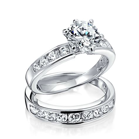 engagement rings and wedding band sets vintage cut cz engagement wedding ring set 1 5ct