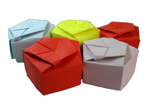 Origami Small Box - paper origami pentagonal gift box all