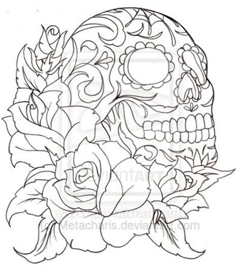 skull tattoo outline designs outline and sugar skull design