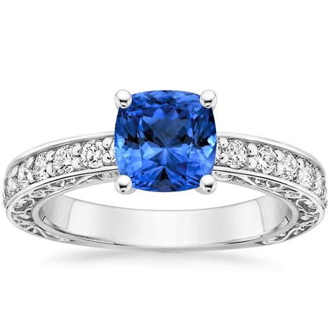 sapphire antique scroll ring 1 3 ct tw in 18k