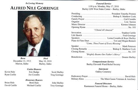 lds funeral program template lds funeral program cake ideas and designs