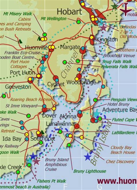 printable road map of tasmania transport to hobart and huon valley accommodation