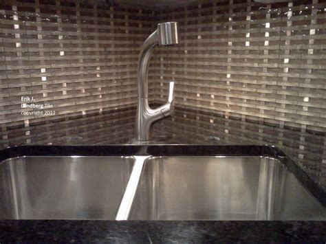 groutless glass metal basketweave backsplash kitchen