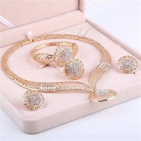 MINHIN Women Delicate Gold Bridal Jewelry Sets Rhinestone