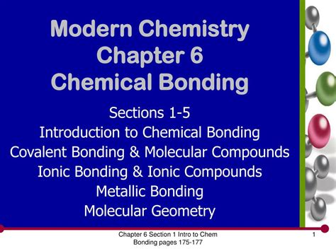 introduction to chemistry section 1 1 answers ppt modern chemistry chapter 6 chemical bonding