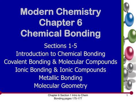 section 6 1 ionic bonding ppt modern chemistry chapter 6 chemical bonding