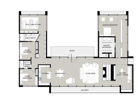 U Shaped Floor Plans by U Shaped House Plans With Courtyard Houses