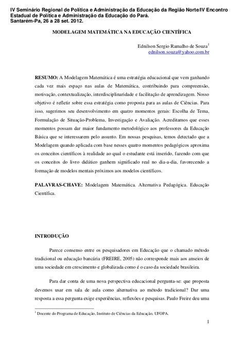 Modelagem matemática na educação científica