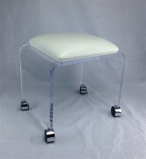 clear plastic vanity chair clear acrylic vanity bench with white vinyl cushion and chrome