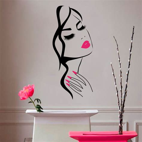 home decoration stickers wall decal beauty salon manicure nail salon hand girl face