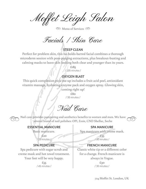 salon menu layout 254 best images about spa decor on pinterest body waxing