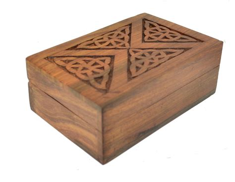Decorative Wooden Boxes by Wooden Tarot Card Box Decorative Celtic Triangle Lid