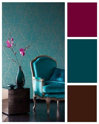 Teal wall with a red hued accent for the home   Our