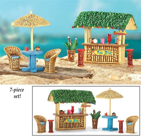Miniature Tiki Hut New 7 Pc Tropical Tiki Hut Bar Miniatures Garden