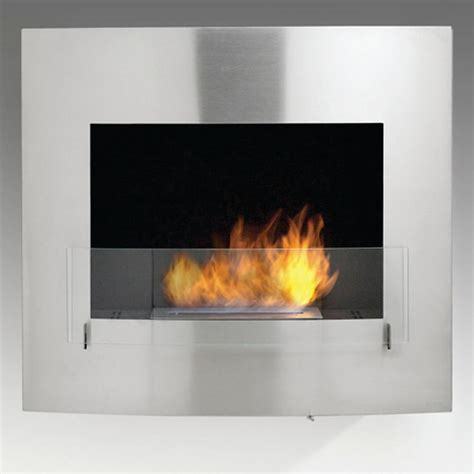 wynn 35 in ethanol wall mounted fireplace in stainless