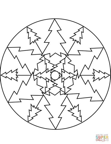 christmas tree mandala coloring page free printable