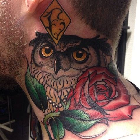 owl tattoo throat tattoo by h 229 kan h 228 vermark bird owl rose neck tattoo