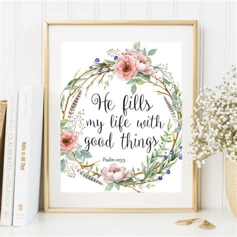 bible verse wall home decor boho style scripture print