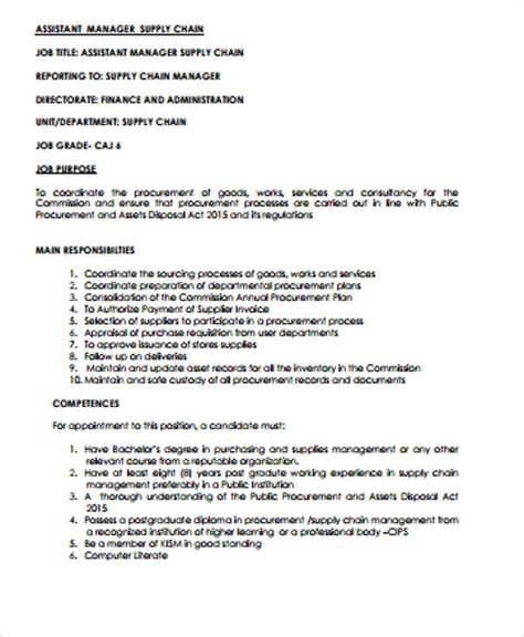 Supply Chain Assistant Sle Resume by Supply Chain Management Description Sle 7 Exles In Word Pdf