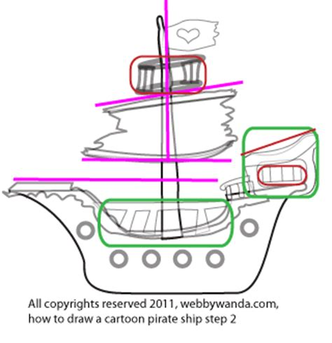 how to draw a pirate ship doodle 320px