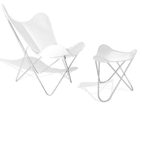 White Leather Chair With Ottoman Hardoy Butterfly Chair Original Leather White With Ottoman Weinbaums
