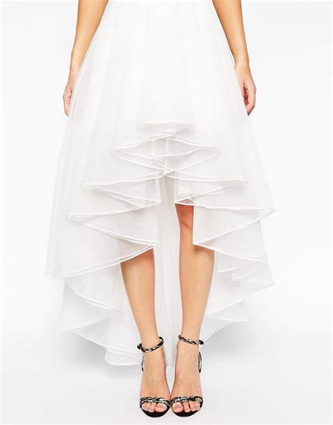 asos premium organza skirt with high low hem in white lyst
