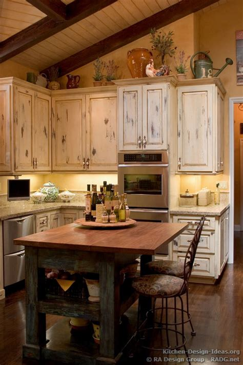 Country Kitchen Island Ideas Country Kitchen Cabinets With An Antique White Crackle Finish