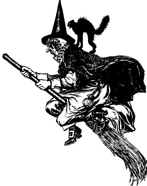 Witch On A Broomstick Clipart