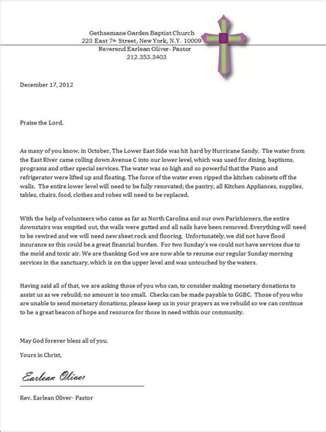 sample letter donations church amulette