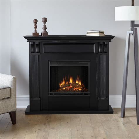 real silverton 48 in electric fireplace in black