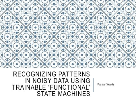 pattern recognition uiuc recognizing patterns in noisy data using trainable
