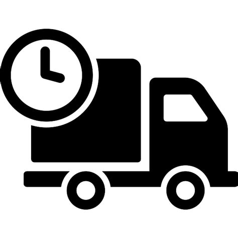 Delivery truck with circular clock - Free transport icons