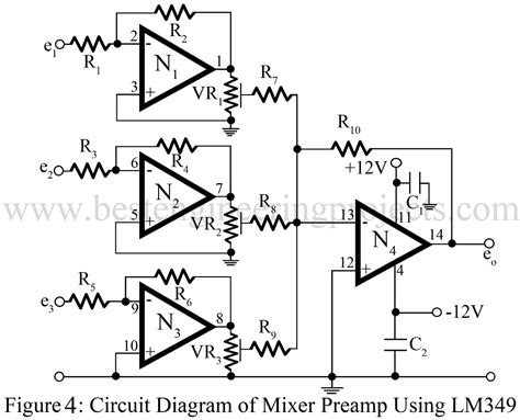 Pcb Mixer Audio audio mixer circuit best engineering projects