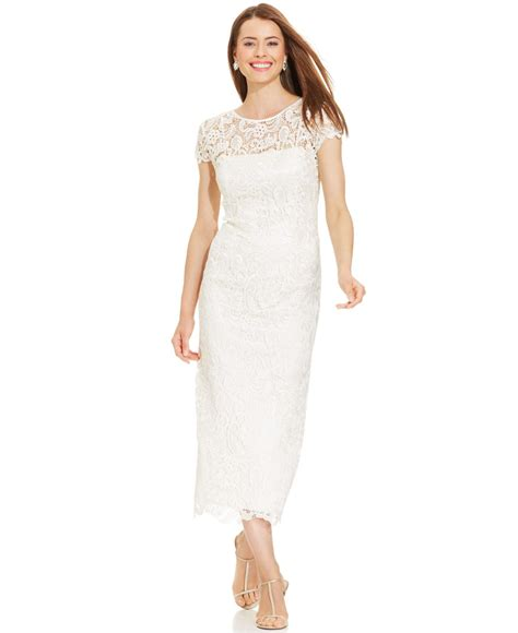 Voerin Dress Lace Size S lyst patra illusion lace tea length dress in white