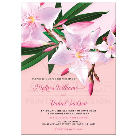 Pink Wedding Invitation Cards by Pink Flower Wedding Invitation Pink Oleander