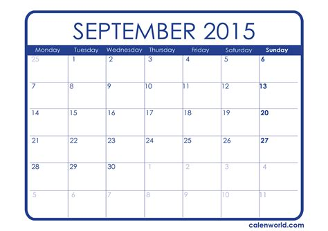 Blank Calendar For September 2015 Calendar September 2015 Calendar Template 2016