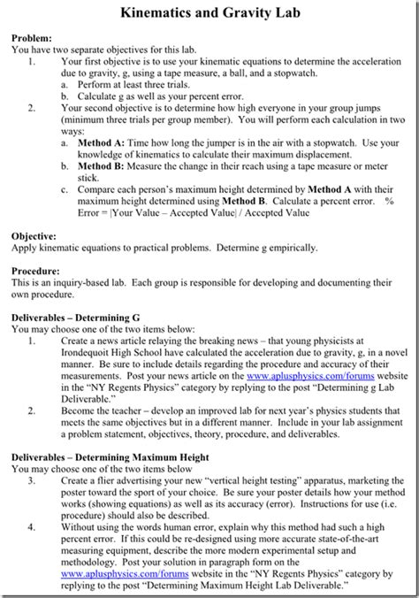Lab Report Outline Physics by Physics Lab Report Exles Images