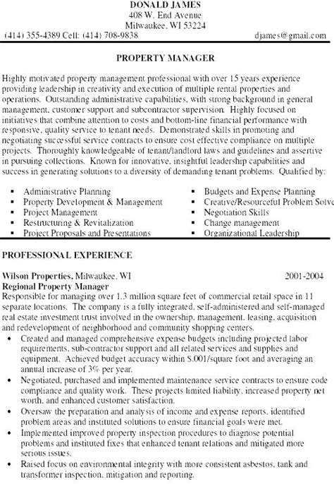 Property Manager Resume by Property Manager Resume Exle Free Sles Exles