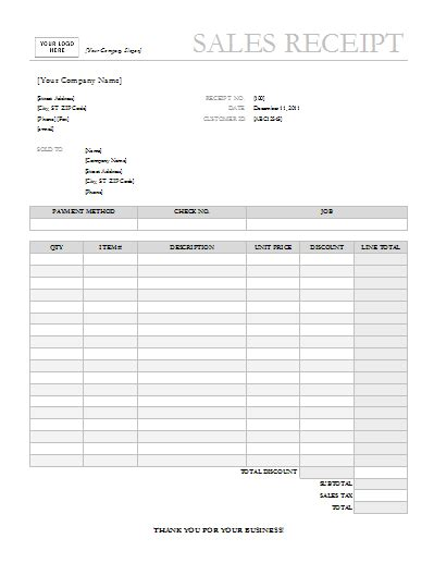 template for business receipt 7 free sales receipt templates word excel formats