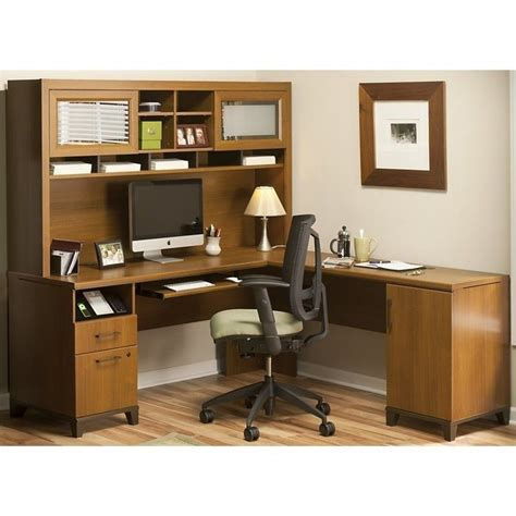 Bush Achieve L Shape Home Office Desk With Hutch In Warm Oak Desks For Home Office