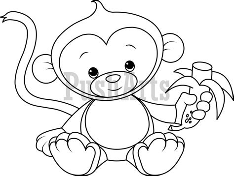 coloring pages of baby monkeys baby monkey eating banana coloring page pusharts