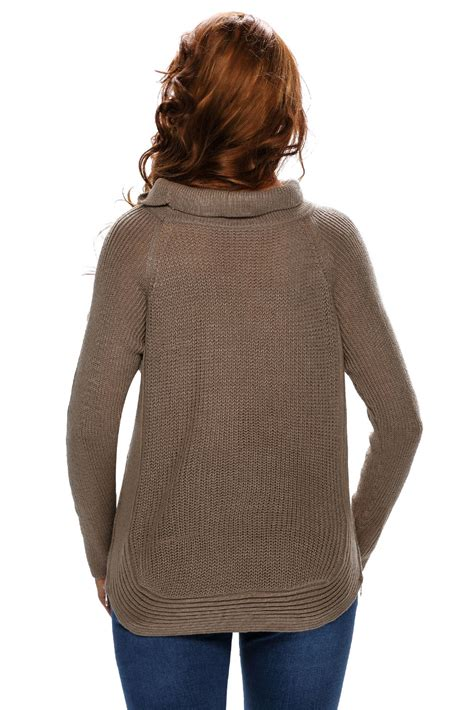 High Neck Pullover fashion khaki high neck pullover side zipped sweater top