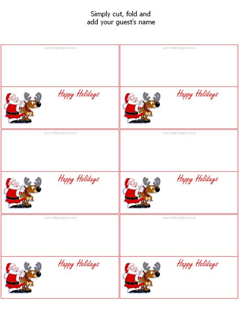 printable christmas card photo templates free 7 best images of printable placecards templates free