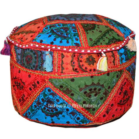 embroidered ottoman 22 quot multi mirror embroidered ottoman pouffe royalfurnish com