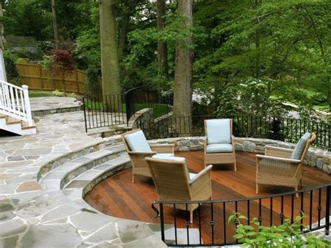 Patio Designs On A Slope Sunken Wood Patio And Flagstone Patio On Wooded Slope
