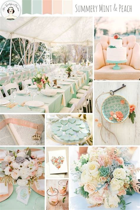 A Romantic Mint & Peach Wedding Inspiration Board   Pastel