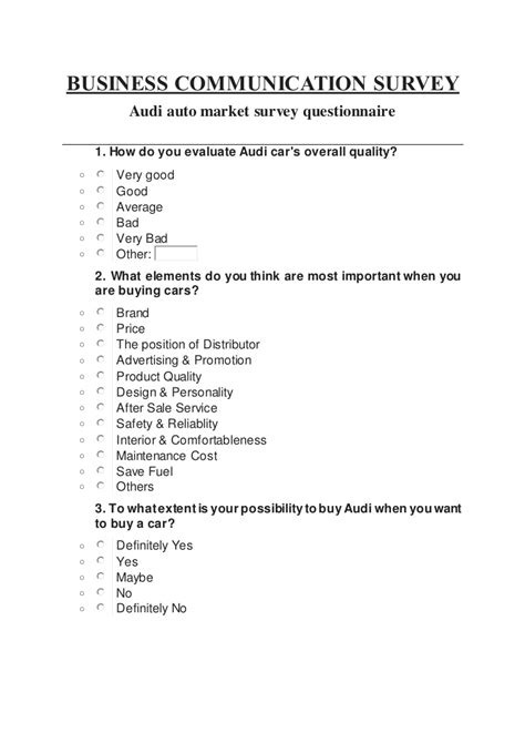 brand awareness survey template audi auto market survey questionnaire